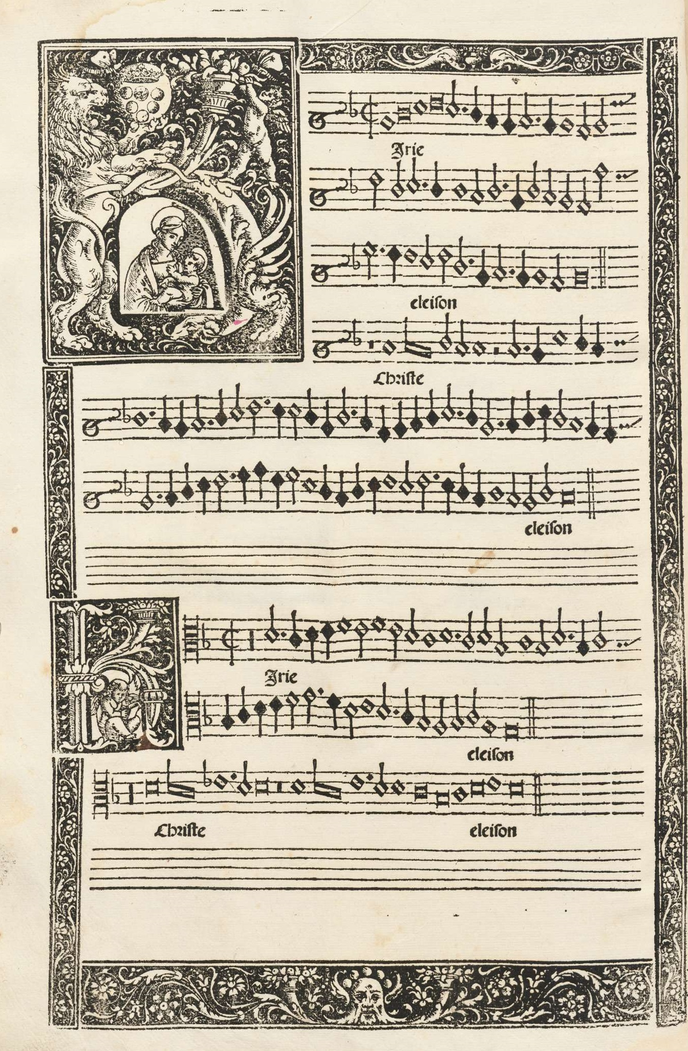 First page of music from Dorico's edition, featuring an illuminated K with the Virgin and child as well as an elaborate K in the next verse.
