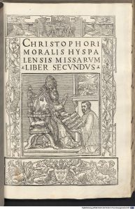 Title page of Morales's Missarum Liber Secundus, depicting Morales presenting the book to Pope Paul the third.