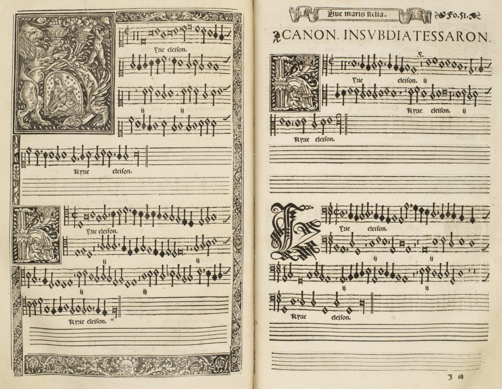A repeated image of the first double-page opening of Morales's Missa Ave maris stella. The page features an illuminated letter K, depicting a vignette of the Virgin and child in the center, as well as two smaller letter K's each depicting a cherub playing a harp in the center. There is an additional decorative letter K in the final verse, done in exquisite calligraphy.