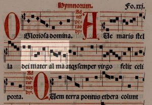 Melody of the plainsong hymn, with the second phrase highlighted.