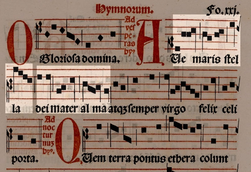 The first two phrases of the plainsong hymn melody highlighted.