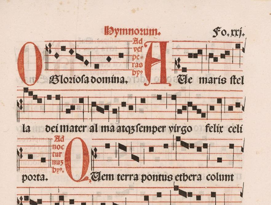 plainsong hymn, Ave maris stella, from Intonarium Toletanum (Alcalá de Henares: Brocar, 1515), folio 21r, Madrid.