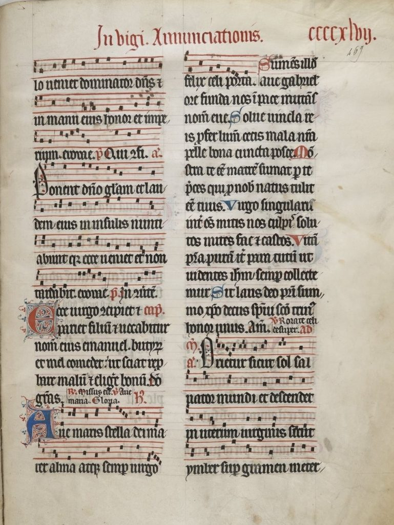 "A manuscript copy of the hymn, Ave maris stella, in the so-called ""Breviary of Paris"". It is printed in black, red, and blue ink."