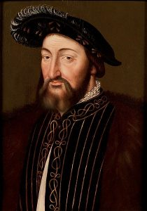 A portrait of Francis I, wearing a black plumed hat.