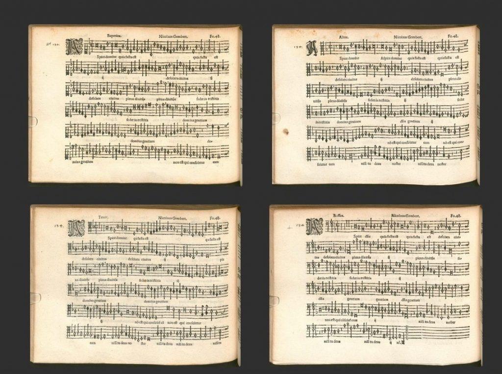 Gombert's motet Aspice domine, from Motteti del fiore, primus liber cum quatuor vocibus (Lyon: Jacques Moderne, 1532), folio [page] 48 of each of the 4 partbooks.