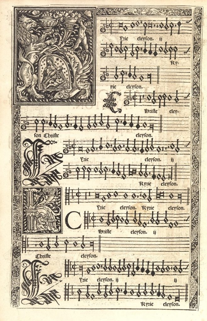 Moderne's illuminated K, featuring the vignette of the Virgin and child, reused in a different book, Pierre Colin's Missa Veni sponsa Christi.