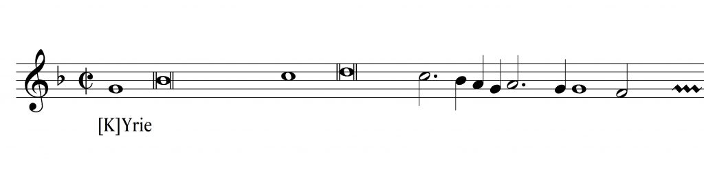 The same staff depicted in modern notation.