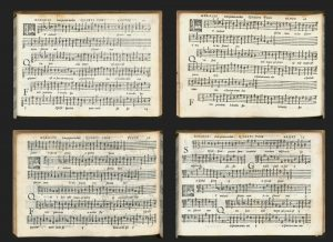 The music of the Magnificat is distributed between 4 partbooks, one for each voice part.