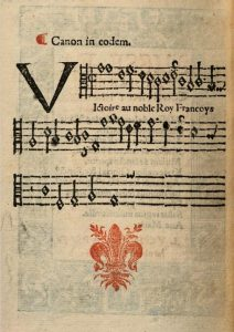 The reverse of the previous page, featuring the modern notation score in black ink and beneath, a fleur de lys printed in red ink.