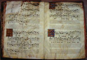 Opening of Morales's Magnificat quarti toni (Et exultavit), Toledo Cathedral, Manuscript polyphonic choirbook.