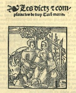 A woodcut of Moderne's depicting a man and woman under a fig tree.