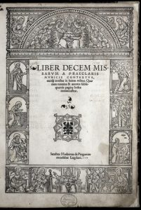 Title page of the Liber decem missarum, which lists Moderne by the name Jacobus Modernus de Pinguento.