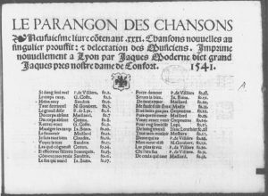 Title page of Le paragon des chansons, which lists Moderne by the nickname and adress Jacques Moderne dict grand Jaques pres nostre dame de Confort.