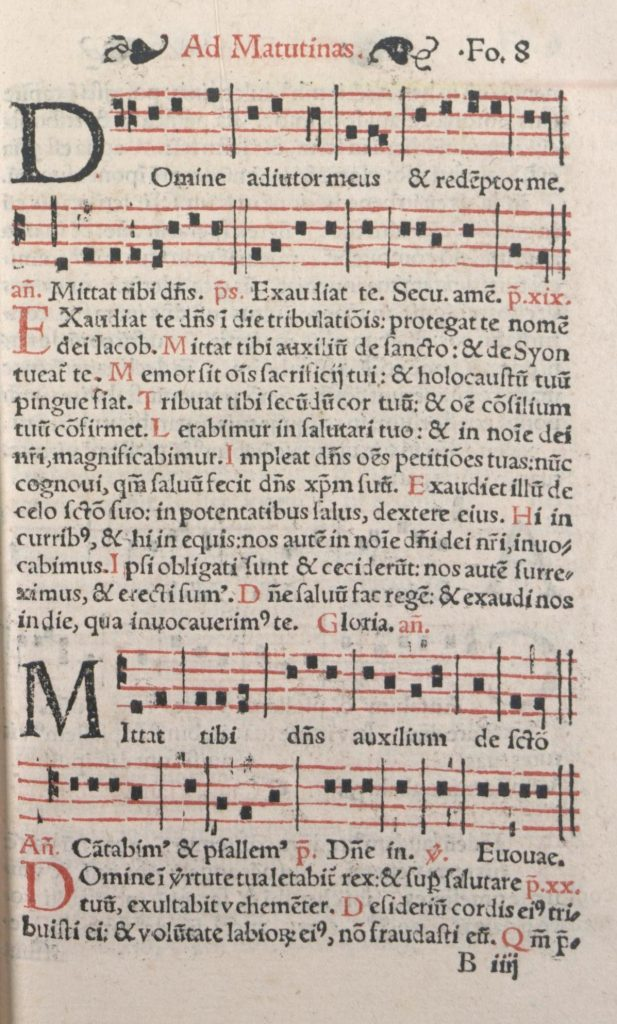 At the top of the page, the antiphon Domine adjutor meus (with musical notation) and the text of psalm 19 Exaudiat te dominus, from Psalterium ad honorabilem ritum Lugdunensis ecclesie Galliarum primatis (Lyon: Jacques Moderne, c.1550), a book of plainsong for use in the churches of Lyon.
