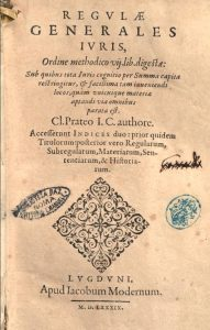 Title page of a manual of canon law published after his death by Moderne's successors.