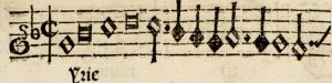 A detail of a printed line of musical notation, enlarged to show the gaps where the movable type pieces come together.
