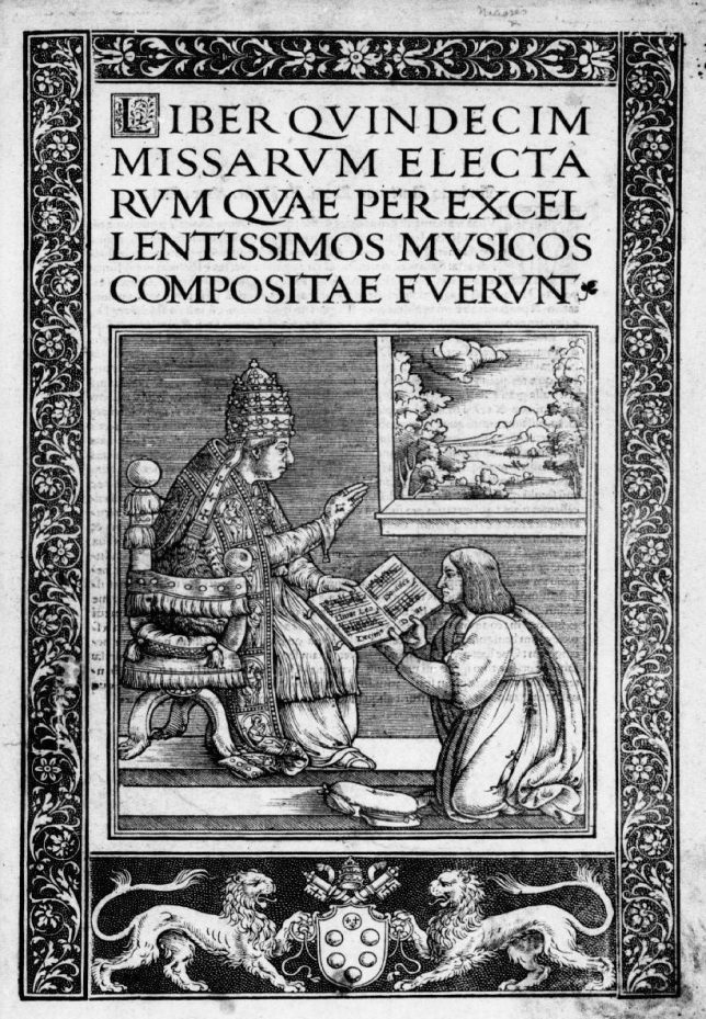 Title Page of Liber Quindecim Missarum depicting Antico presenting his book to Pope Leo the tenth.